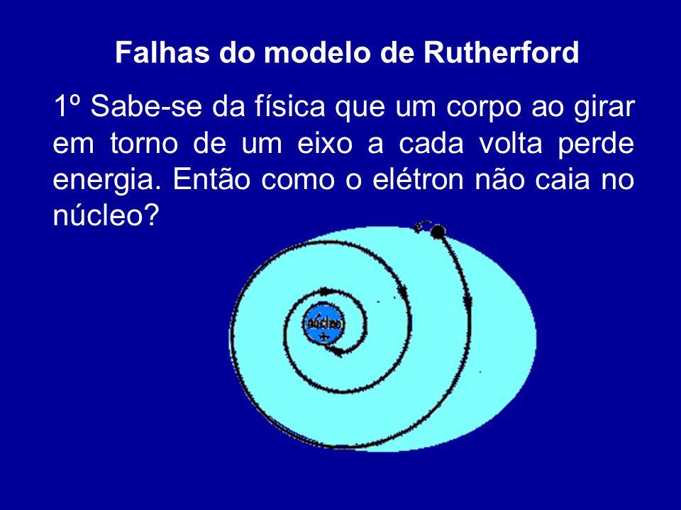 Falhas do modelo de Rutherford 1º Sabe-se da física que um corpo ao girar em torno de um eixo a cada volta perde energia. Então como o elétron não cai