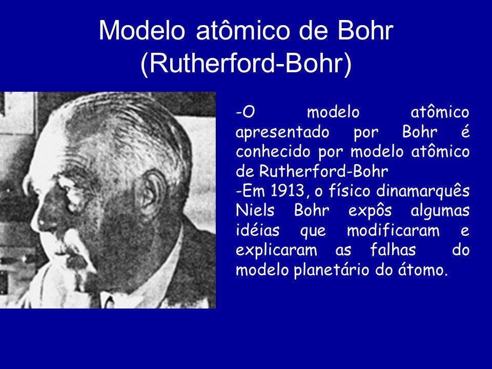 Modelo atômico de Bohr (Rutherford-Bohr) -O modelo atômico apresentado por Bohr é conhecido por modelo atômico de Rutherford-Bohr -Em 1913, o físico d