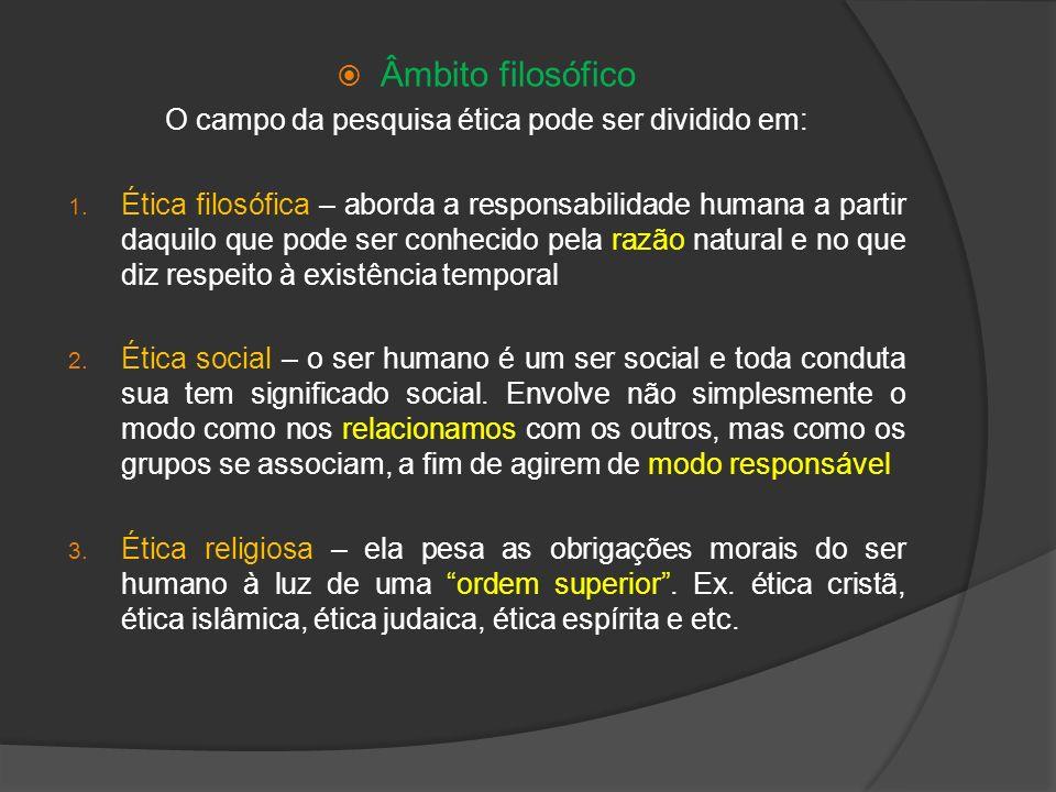 Âmbito filosófico O campo da pesquisa ética pode ser dividido em: 1. Ética filosófica – aborda a responsabilidade humana a partir daquilo que pode ser
