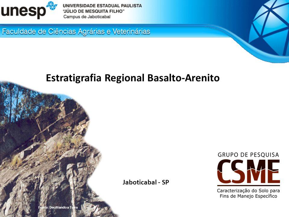 Jaboticabal - SP Estratigrafia Regional Basalto-Arenito Fonte: Decifrando a Terra