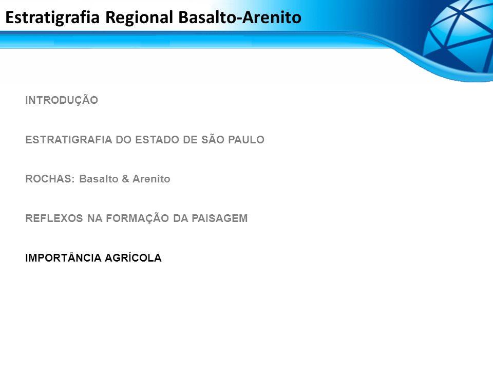 INTRODUÇÃO ESTRATIGRAFIA DO ESTADO DE SÃO PAULO ROCHAS: Basalto & Arenito REFLEXOS NA FORMAÇÃO DA PAISAGEM IMPORTÂNCIA AGRÍCOLA Estratigrafia Regional