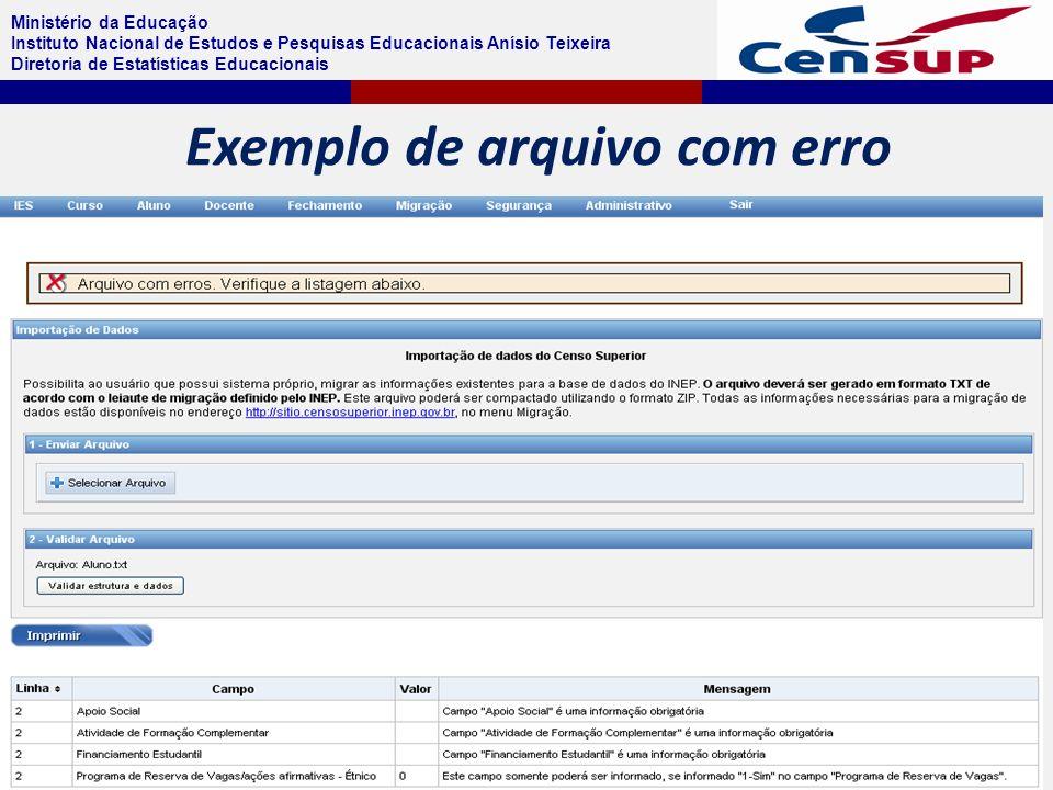 Ministério da Educação Instituto Nacional de Estudos e Pesquisas Educacionais Anísio Teixeira Diretoria de Estatísticas Educacionais Exemplo de arquivo com erro