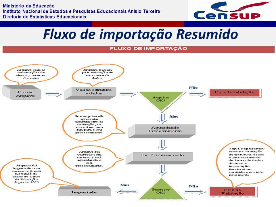 Ministério da Educação Instituto Nacional de Estudos e Pesquisas Educacionais Anísio Teixeira Diretoria de Estatísticas Educacionais Fluxo de importação Resumido