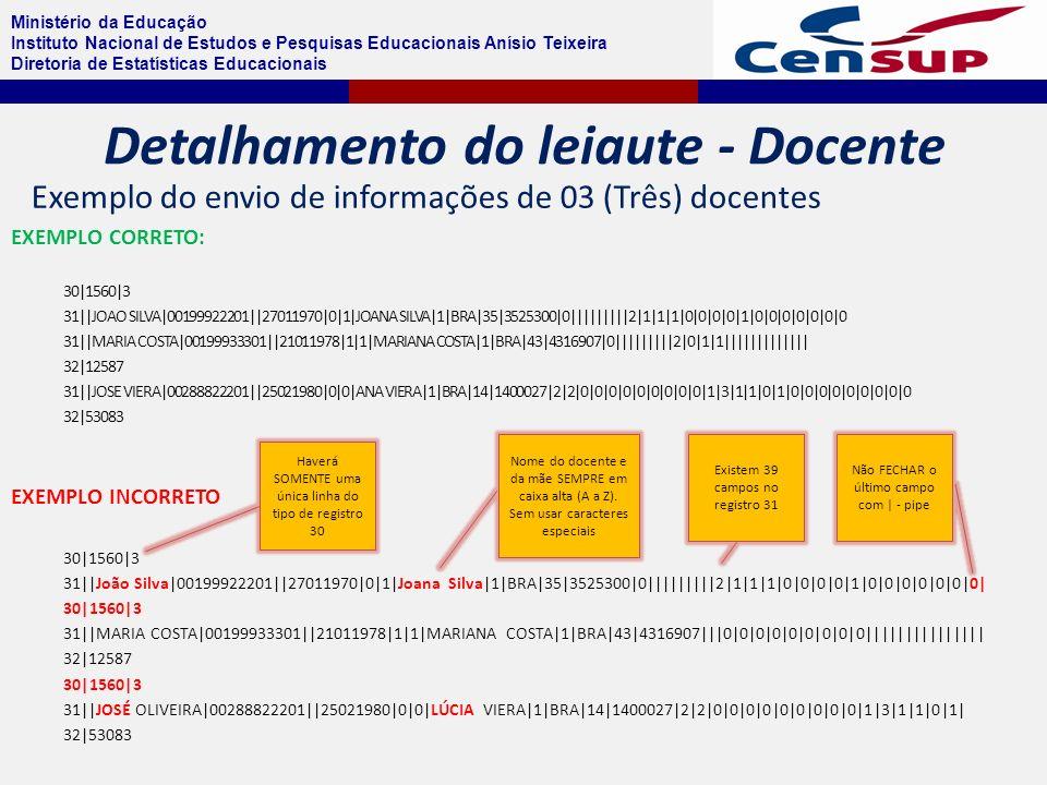 Ministério da Educação Instituto Nacional de Estudos e Pesquisas Educacionais Anísio Teixeira Diretoria de Estatísticas Educacionais EXEMPLO CORRETO: 30|1560|3 31||JOAO SILVA|00199922201||27011970|0|1|JOANA SILVA|1|BRA|35|3525300|0|||||||||2|1|1|1|0|0|0|0|1|0|0|0|0|0|0|0 31||MARIA COSTA|00199933301||21011978|1|1|MARIANA COSTA|1|BRA|43|4316907|0|||||||||2|0|1|1||||||||||||| 32|12587 31||JOSE VIERA|00288822201||25021980|0|0|ANA VIERA|1|BRA|14|1400027|2|2|0|0|0|0|0|0|0|0|0|1|3|1|1|0|1|0|0|0|0|0|0|0|0|0 32|53083 EXEMPLO INCORRETO 30|1560|3 31||João Silva|00199922201||27011970|0|1|Joana Silva|1|BRA|35|3525300|0|||||||||2|1|1|1|0|0|0|0|1|0|0|0|0|0|0|0| 30|1560|3 31||MARIA COSTA|00199933301||21011978|1|1|MARIANA COSTA|1|BRA|43|4316907|||0|0|0|0|0|0|0|0|0||||||||||||||| 32|12587 30|1560|3 31||JOSÉ OLIVEIRA|00288822201||25021980|0|0|LÚCIA VIERA|1|BRA|14|1400027|2|2|0|0|0|0|0|0|0|0|0|1|3|1|1|0|1| 32|53083 Haverá SOMENTE uma única linha do tipo de registro 30 Nome do docente e da mãe SEMPRE em caixa alta (A a Z).