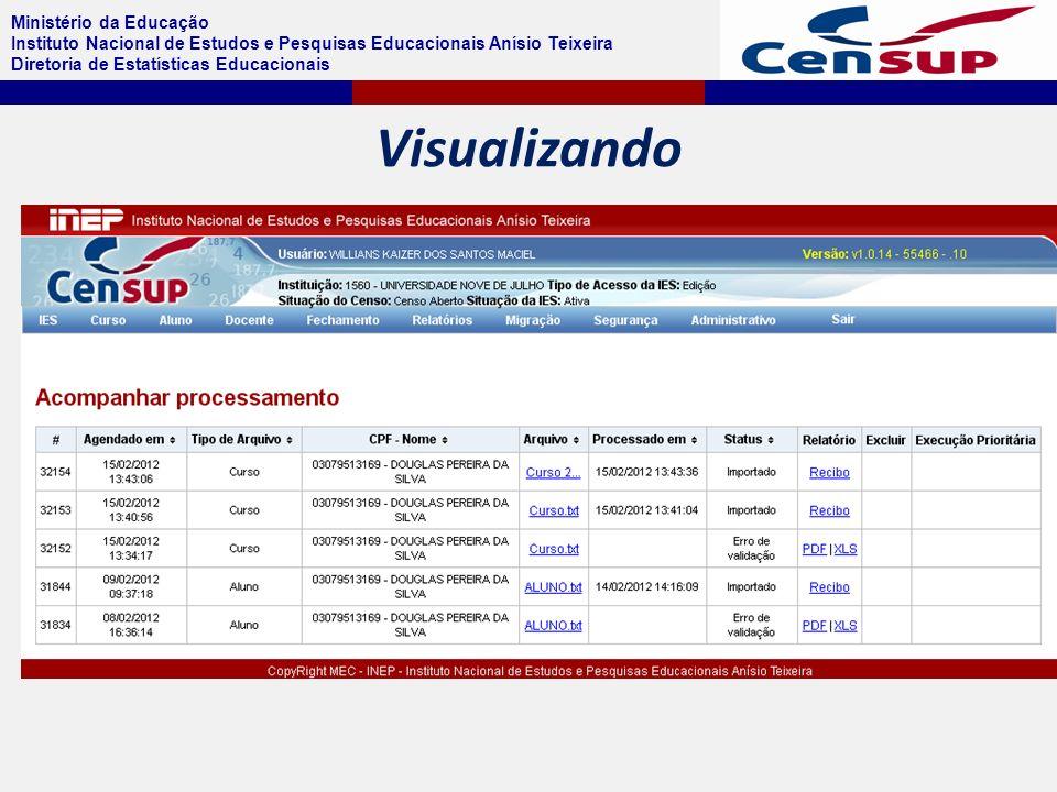Ministério da Educação Instituto Nacional de Estudos e Pesquisas Educacionais Anísio Teixeira Diretoria de Estatísticas Educacionais Visualizando
