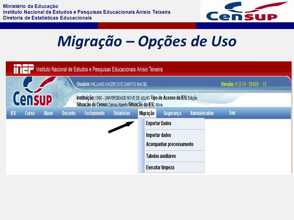 Ministério da Educação Instituto Nacional de Estudos e Pesquisas Educacionais Anísio Teixeira Diretoria de Estatísticas Educacionais Migração – Opções de Uso