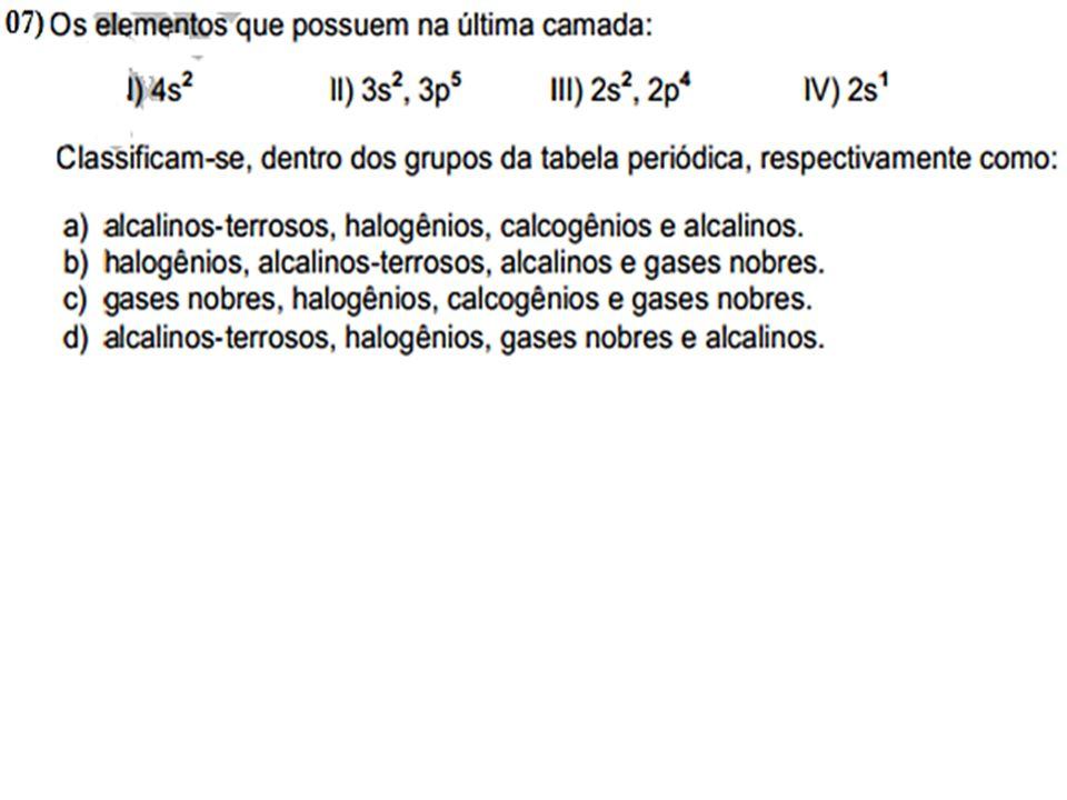 Complete a tabela com o nome das fam í lias, e os elementos das fam í lias representativas com seus respectivos valores de pr ó tons, bem como, seus el é trons na ú ltima camada de valência, com indica ç ão de são c á tions ou ânions.