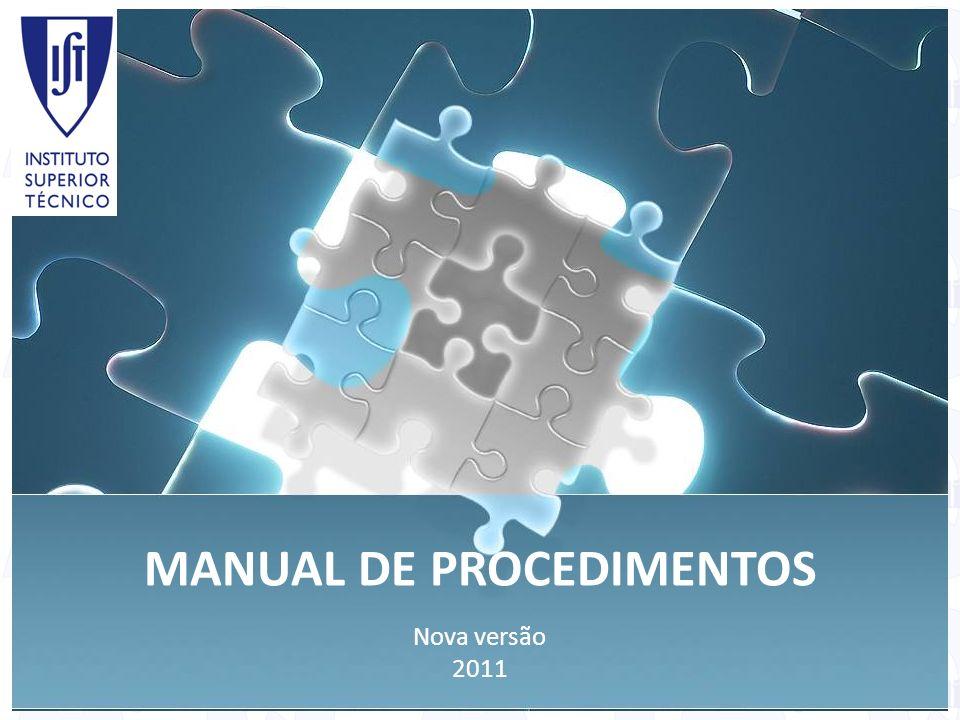 MANUAL DE PROCEDIMENTOS Nova versão 2011