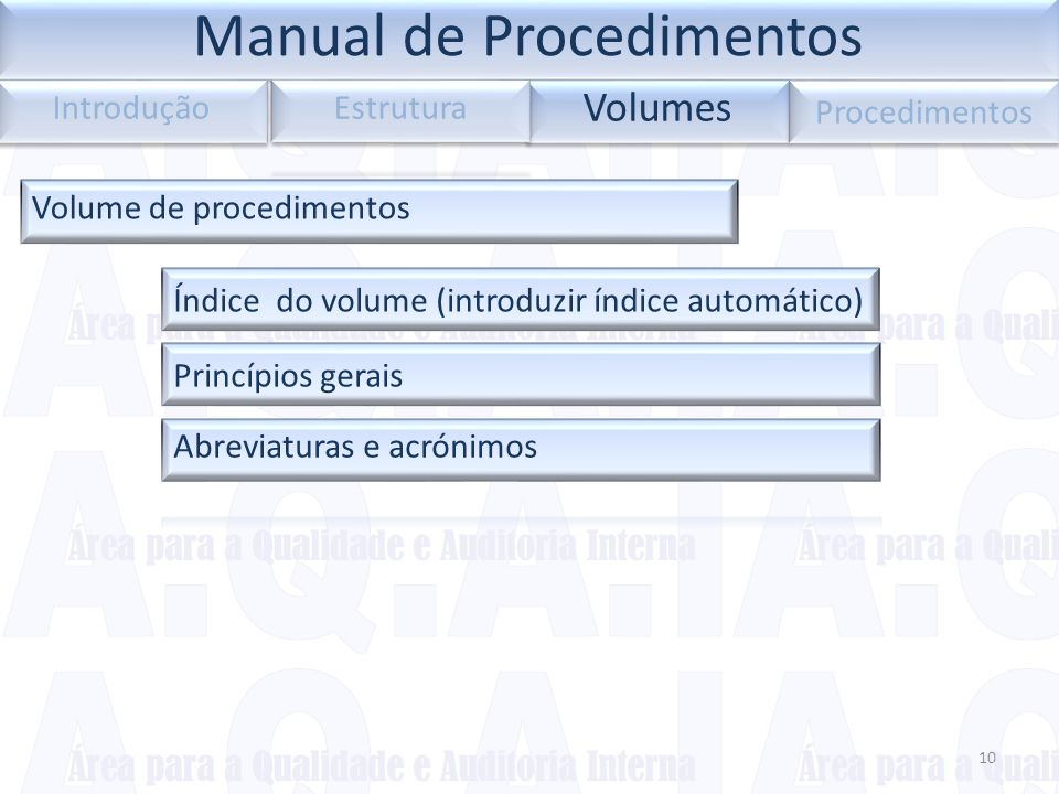 10 Volumes Introdução Procedimentos Volume de procedimentos