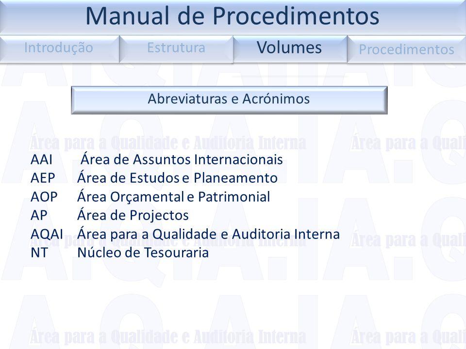 Abreviaturas e Acrónimos AAI Área de Assuntos Internacionais AEP Área de Estudos e Planeamento AOPÁrea Orçamental e Patrimonial APÁrea de Projectos AQ