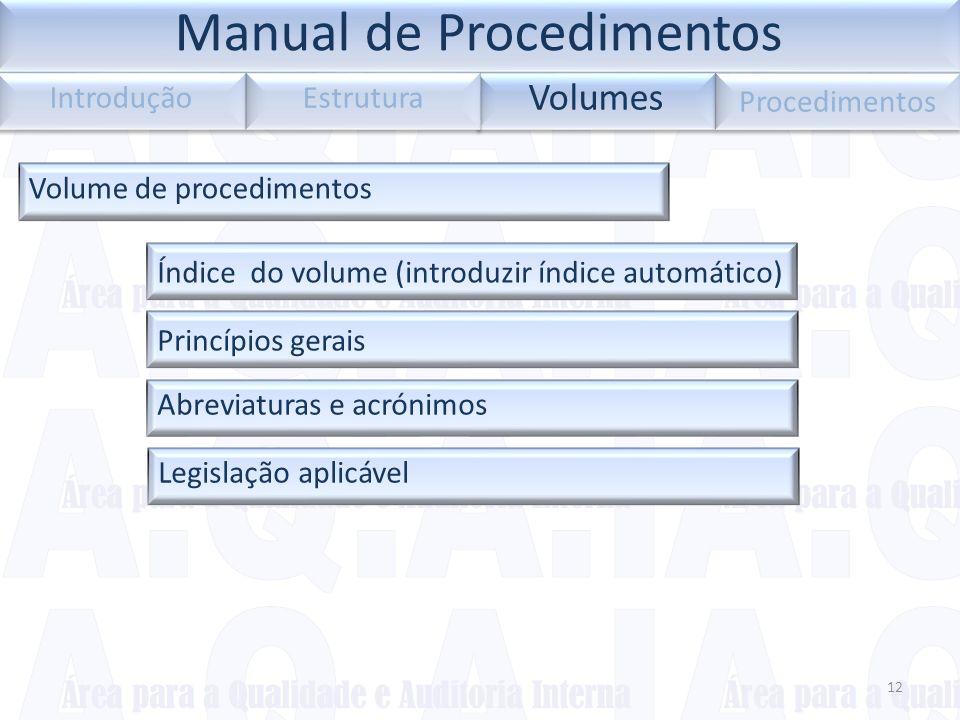 Legislação aplicável 12 Volumes Introdução Estrutura Procedimentos Volume de procedimentos