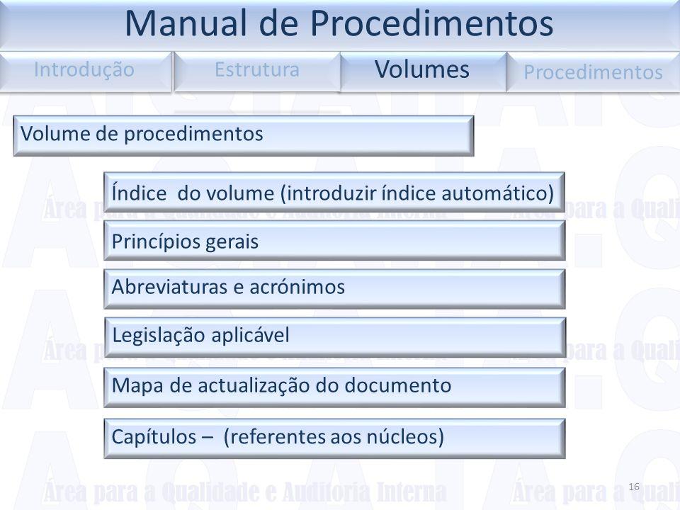 Legislação aplicável 16 Volumes Introdução Procedimentos Volume de procedimentos Capítulos – (referentes aos núcleos)