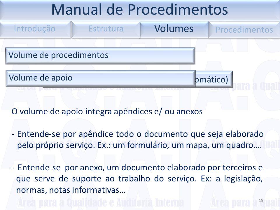 Índice do volume (introduzir índice automático) 19 Volumes Introdução Estrutura Procedimentos Volume de procedimentos Volume de apoio O volume de apoi