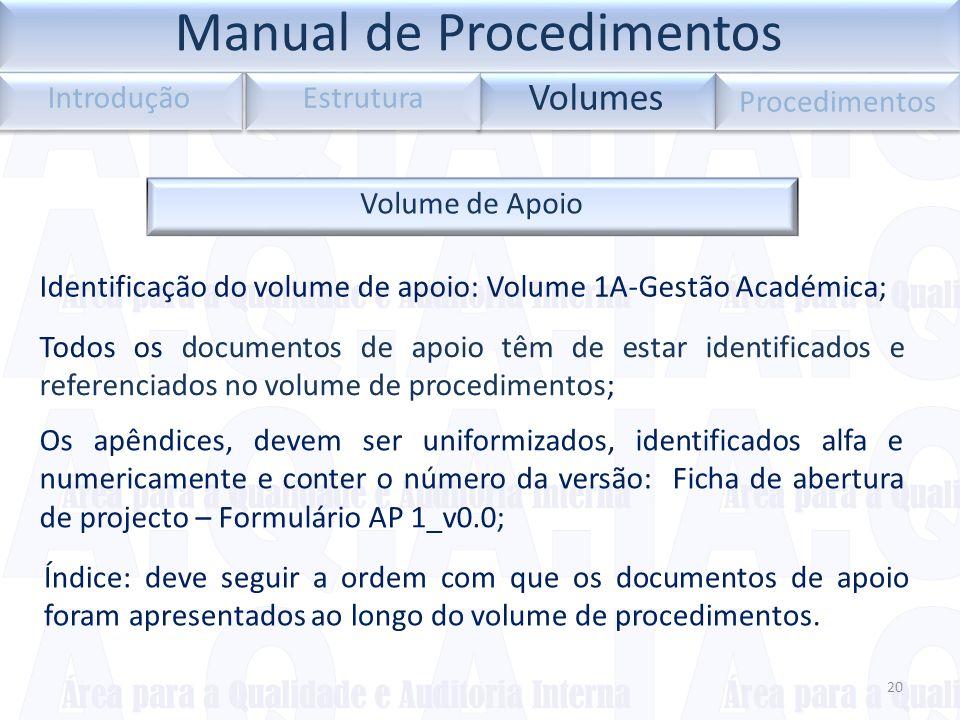 20 Volumes Introdução Estrutura Procedimentos Volume de Apoio Identificação do volume de apoio: Volume 1A-Gestão Académica; Todos os documentos de apo