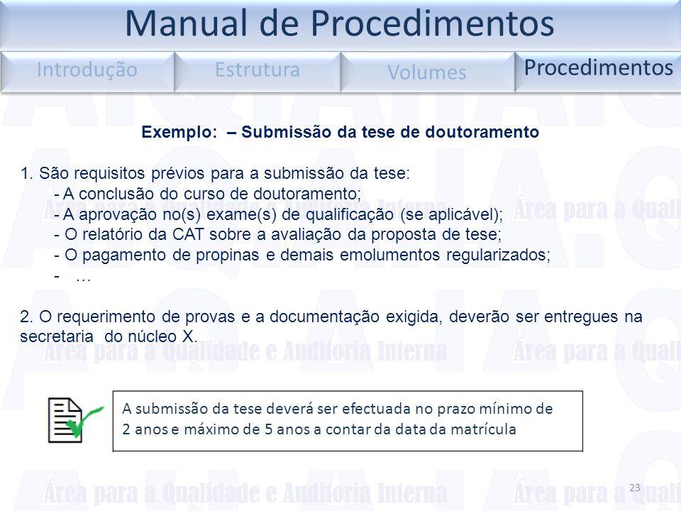 23 Procedimentos Introdução Estrutura Volumes Exemplo: – Submissão da tese de doutoramento 1. São requisitos prévios para a submissão da tese: - A con