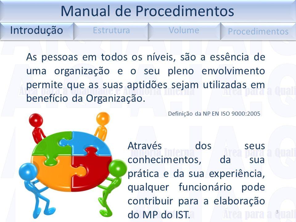 Introdução Estrutura Volume Procedimentos 3 As pessoas em todos os níveis, são a essência de uma organização e o seu pleno envolvimento permite que as