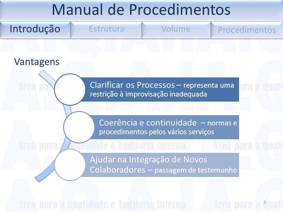Vantagens 5 Introdução Estrutura Volume Procedimentos Clarificar os Processos – representa uma restrição à improvisação inadequada Coerência e continu