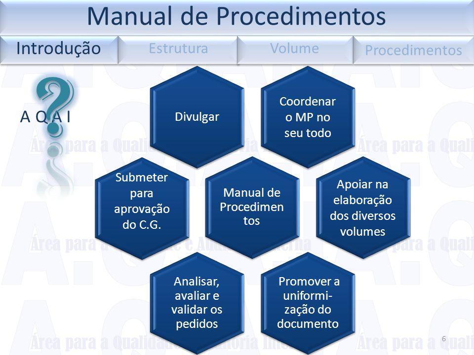 6 A Q A I Coordenar o MP no seu todo Divulgar Manual de Procedimen tos Apoiar na elaboração dos diversos volumes Promover a uniformi- zação do documen