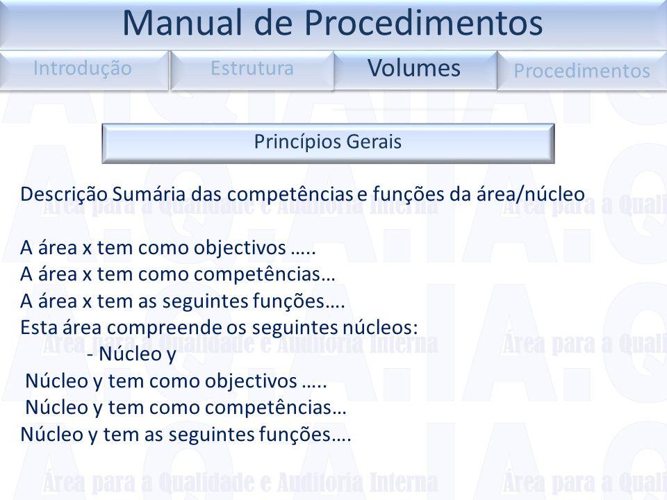Princípios Gerais Descrição Sumária das competências e funções da área/núcleo A área x tem como objectivos ….. A área x tem como competências… A área