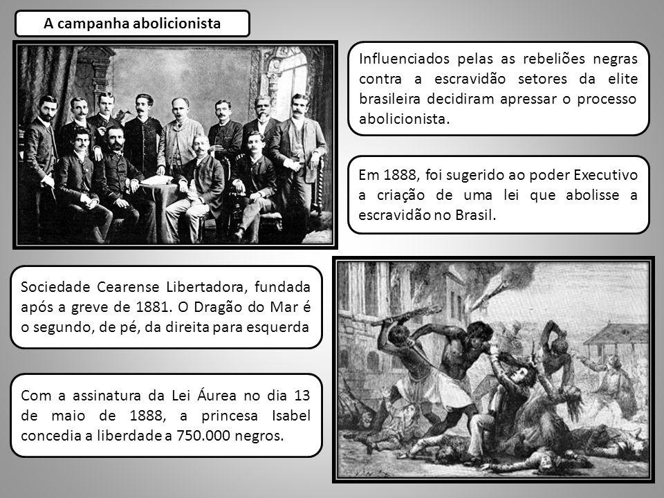 Influenciados pelas as rebeliões negras contra a escravidão setores da elite brasileira decidiram apressar o processo abolicionista. A campanha abolic
