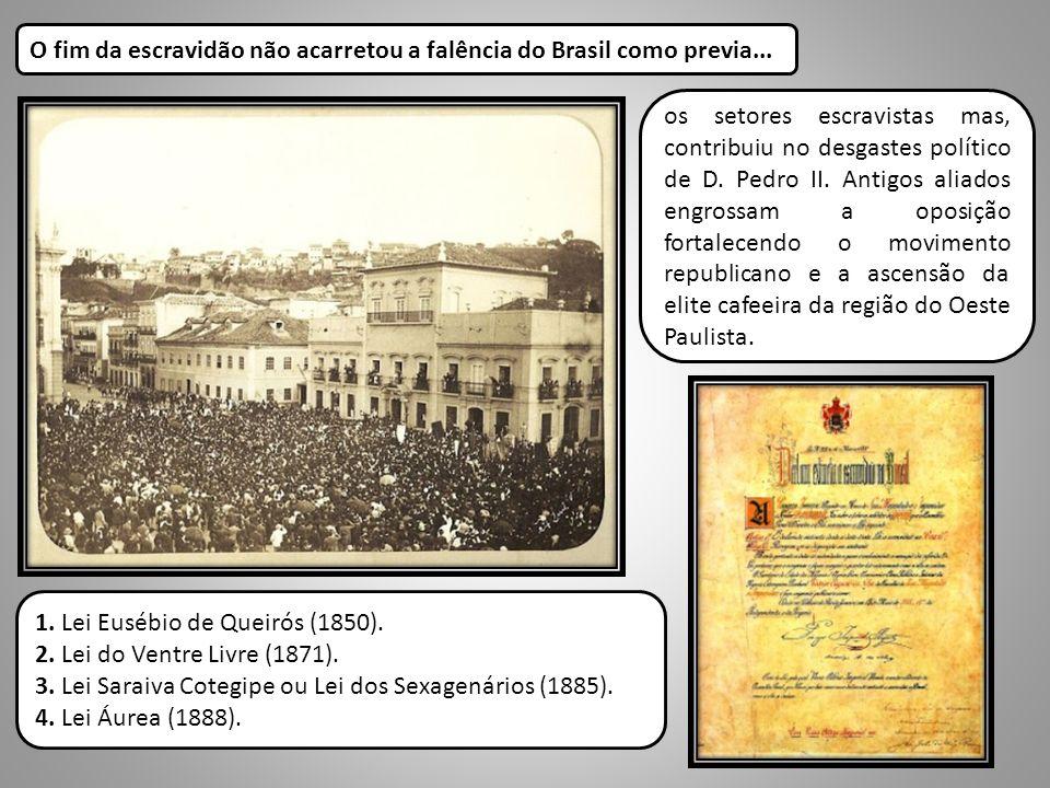 os setores escravistas mas, contribuiu no desgastes político de D. Pedro II. Antigos aliados engrossam a oposição fortalecendo o movimento republicano