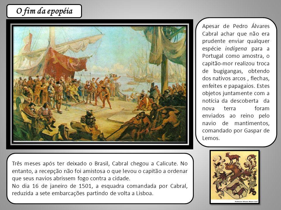 Apesar de Pedro Álvares Cabral achar que não era prudente enviar qualquer espécie indígena para a Portugal como amostra, o capitão-mor realizou troca de bugigangas, obtendo dos nativos arcos, flechas, enfeites e papagaios.