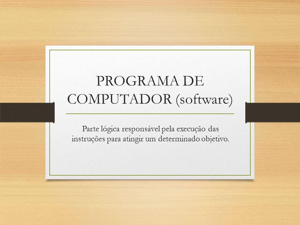 PROGRAMA DE COMPUTADOR (software) Parte lógica responsável pela execução das instruções para atingir um determinado objetivo.