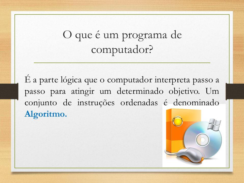 O que é um programa de computador? É a parte lógica que o computador interpreta passo a passo para atingir um determinado objetivo. Um conjunto de ins