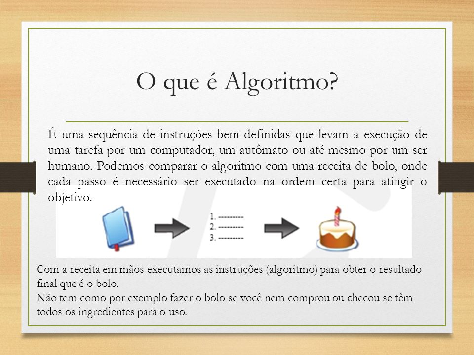 O que é Algoritmo? É uma sequência de instruções bem definidas que levam a execução de uma tarefa por um computador, um autômato ou até mesmo por um s