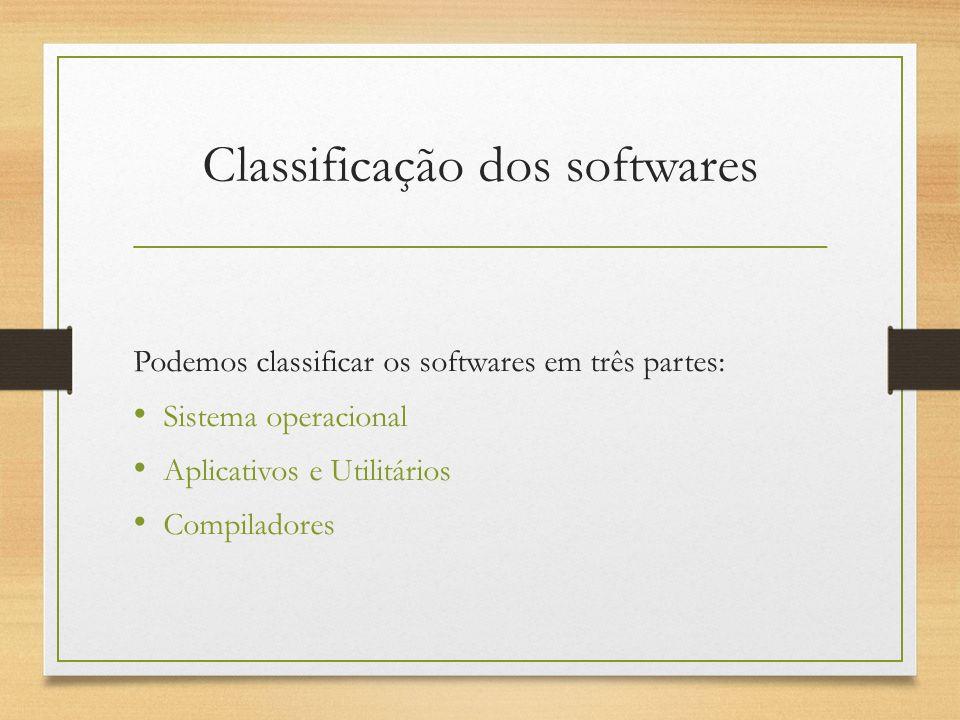 Classificação dos softwares Podemos classificar os softwares em três partes: Sistema operacional Aplicativos e Utilitários Compiladores
