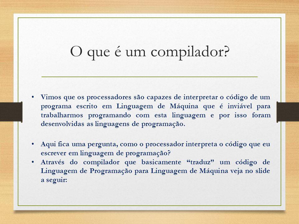 O que é um compilador? Vimos que os processadores são capazes de interpretar o código de um programa escrito em Linguagem de Máquina que é inviável pa
