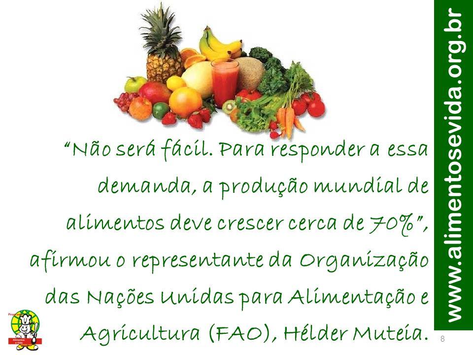 www.alimentosevida.org.br 9 O cenário atual aumenta a responsabilidade dos países emergentes, como é o caso do Brasil.