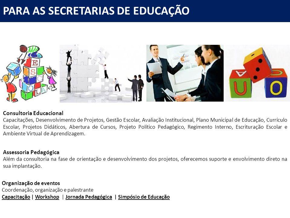 Consultoria Educacional Capacitações, Desenvolvimento de Projetos, Gestão Escolar, Avaliação Institucional, Plano Municipal de Educação, Currículo Esc