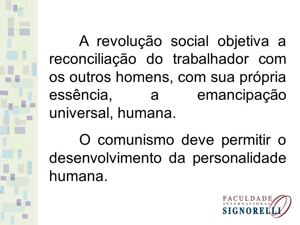 A revolução social objetiva a reconciliação do trabalhador com os outros homens, com sua própria essência, a emancipação universal, humana. O comunism