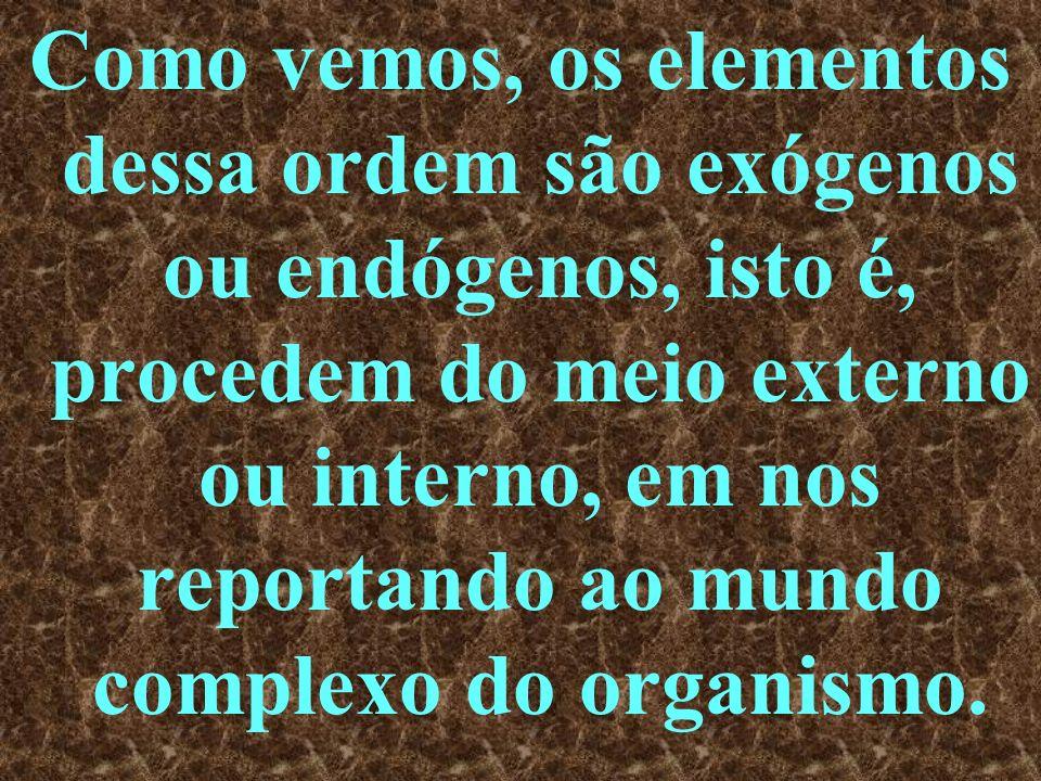 Como vemos, os elementos dessa ordem são exógenos ou endógenos, isto é, procedem do meio externo ou interno, em nos reportando ao mundo complexo do organismo.