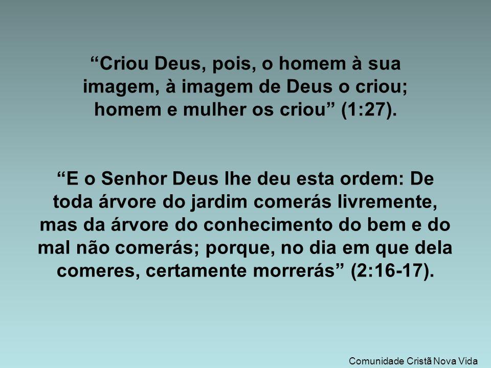 Comunidade Cristã Nova Vida Criou Deus, pois, o homem à sua imagem, à imagem de Deus o criou; homem e mulher os criou (1:27).