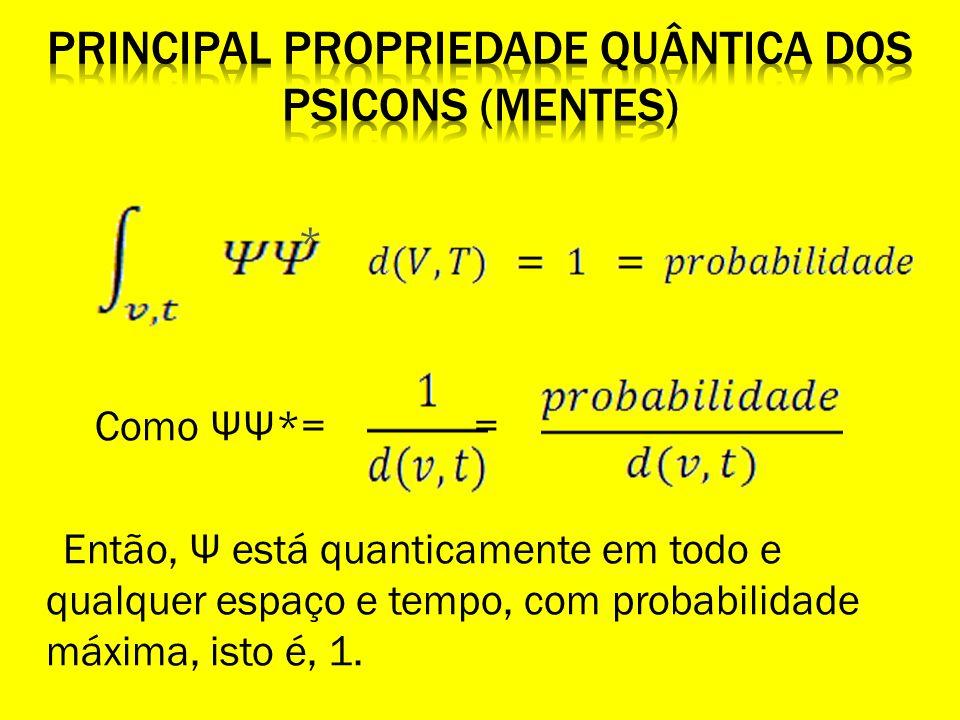 * Como ΨΨ*= = Então, Ψ está quanticamente em todo e qualquer espaço e tempo, com probabilidade máxima, isto é, 1.