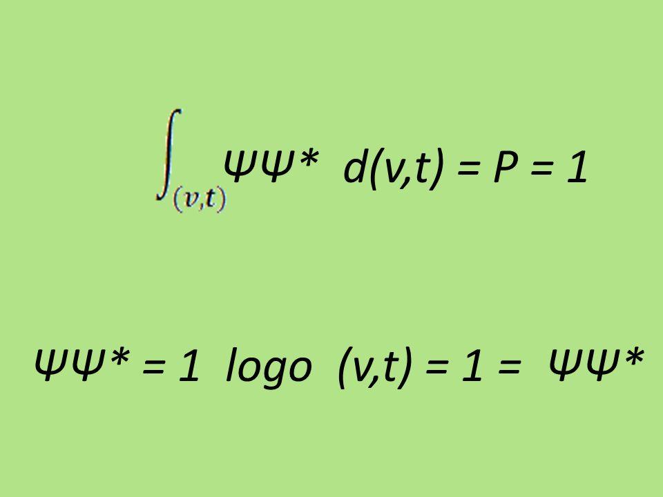 ΨΨ* d(v,t) = P = 1 ΨΨ* = 1 logo (v,t) = 1 = ΨΨ*