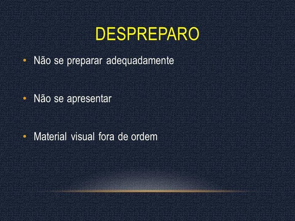 DESPREPARO Não se preparar adequadamente Não se apresentar Material visual fora de ordem