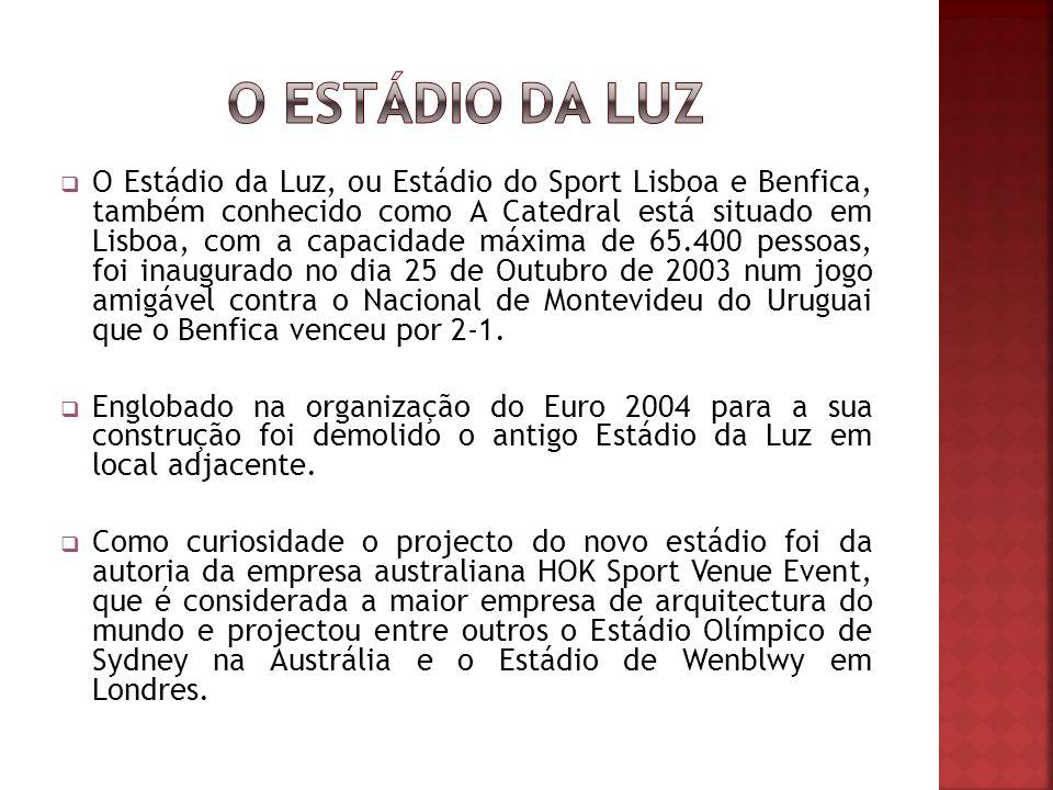 O Estádio da Luz, ou Estádio do Sport Lisboa e Benfica, também conhecido como A Catedral está situado em Lisboa, com a capacidade máxima de 65.400 pessoas, foi inaugurado no dia 25 de Outubro de 2003 num jogo amigável contra o Nacional de Montevideu do Uruguai que o Benfica venceu por 2-1.