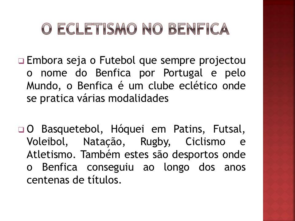 Embora seja o Futebol que sempre projectou o nome do Benfica por Portugal e pelo Mundo, o Benfica é um clube eclético onde se pratica várias modalidades O Basquetebol, Hóquei em Patins, Futsal, Voleibol, Natação, Rugby, Ciclismo e Atletismo.