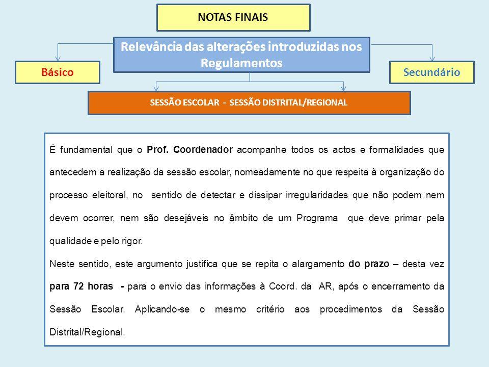 NOTAS FINAIS Relevância das alterações introduzidas nos Regulamentos BásicoSecundário SESSÃO ESCOLAR - SESSÃO DISTRITAL/REGIONAL É fundamental que o Prof.