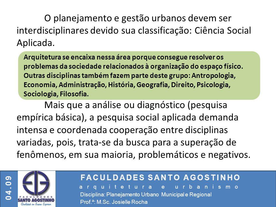 FACULDADES SANTO AGOSTINHO arquitetura e urbanismo Disciplina: Planejamento Urbano Municipal e Regional Prof.ª: M.Sc. Josielle Rocha 04.09 O planejame