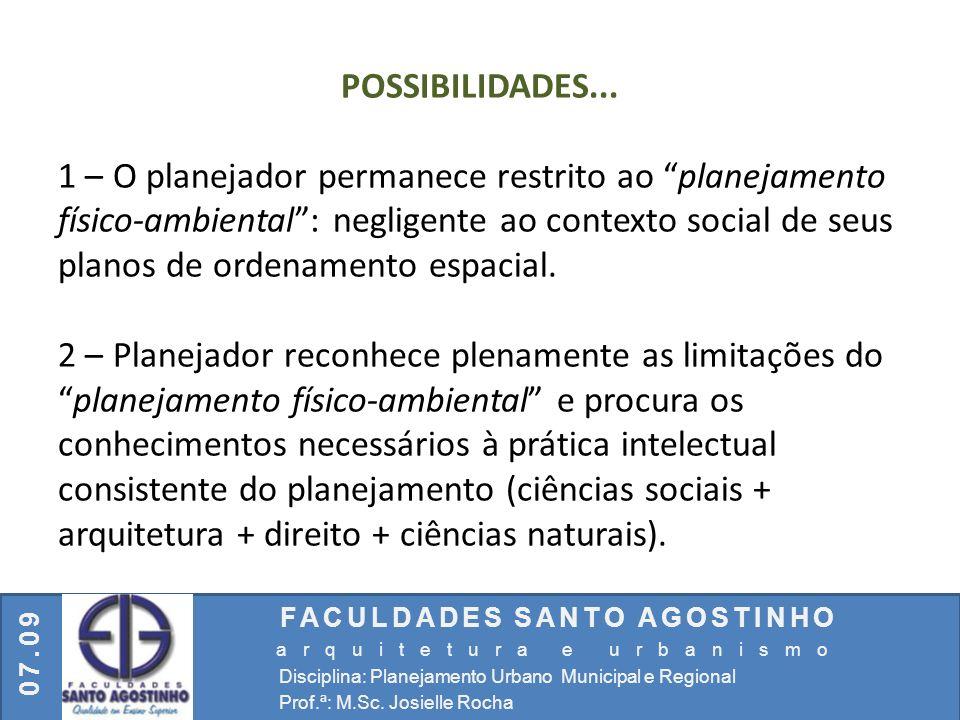FACULDADES SANTO AGOSTINHO arquitetura e urbanismo Disciplina: Planejamento Urbano Municipal e Regional Prof.ª: M.Sc. Josielle Rocha 07.09 POSSIBILIDA