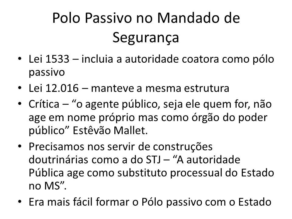 Polo Passivo no Mandado de Segurança Lei 1533 – incluia a autoridade coatora como pólo passivo Lei 12.016 – manteve a mesma estrutura Crítica – o agen