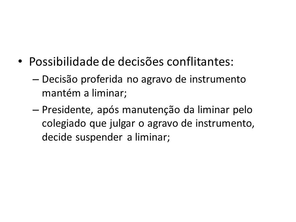 Possibilidade de decisões conflitantes: – Decisão proferida no agravo de instrumento mantém a liminar; – Presidente, após manutenção da liminar pelo c