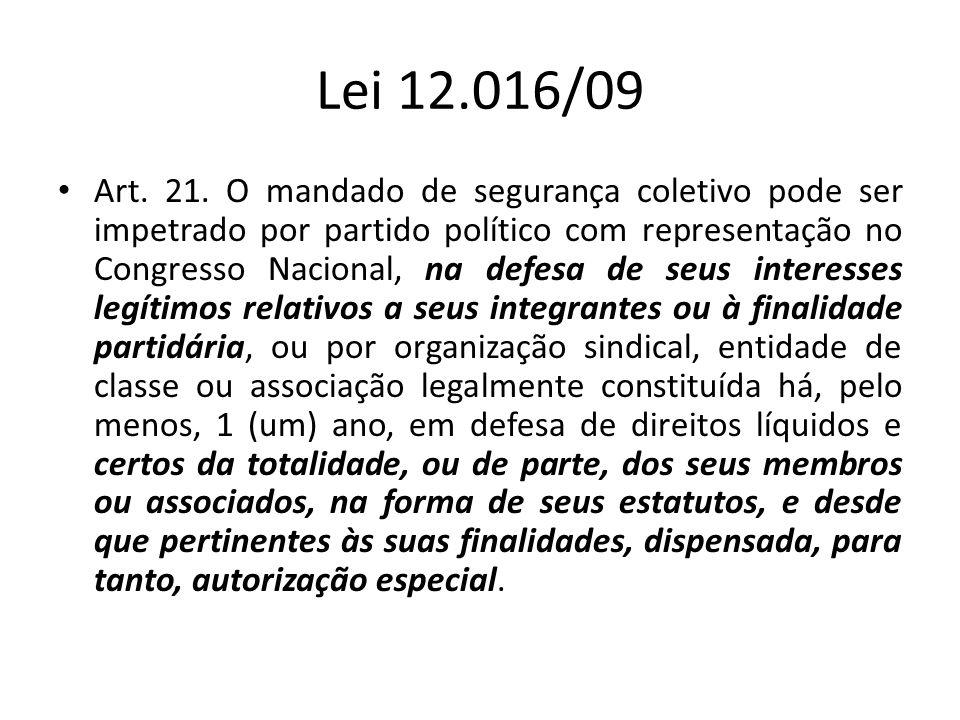 Lei 12.016/09 Art. 21. O mandado de segurança coletivo pode ser impetrado por partido político com representação no Congresso Nacional, na defesa de s