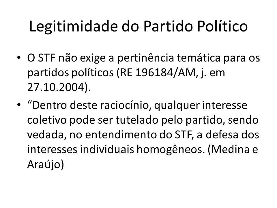 Legitimidade do Partido Político O STF não exige a pertinência temática para os partidos políticos (RE 196184/AM, j. em 27.10.2004). Dentro deste raci