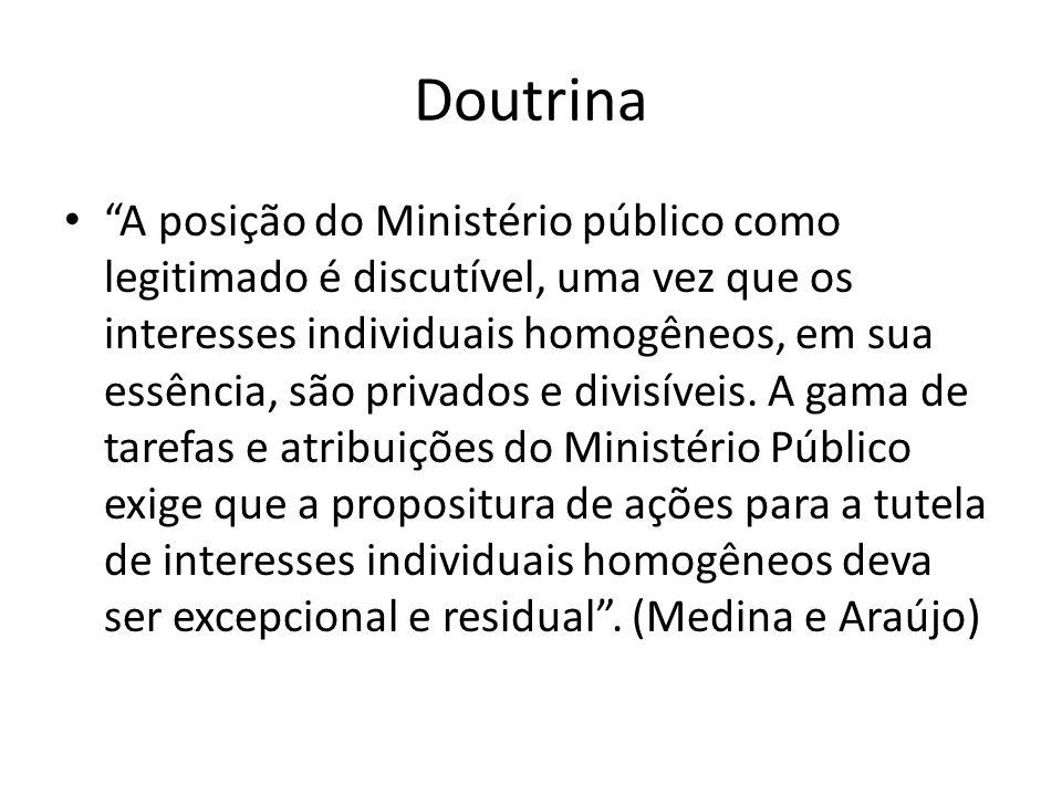 Doutrina A posição do Ministério público como legitimado é discutível, uma vez que os interesses individuais homogêneos, em sua essência, são privados
