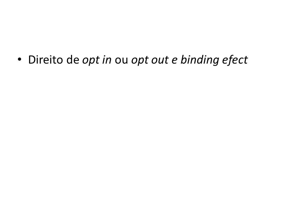 Direito de opt in ou opt out e binding efect